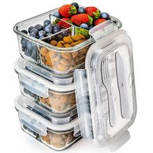 Rectangle stackable 1 liter makeup storage container glass meal prep containers with airtight lid
