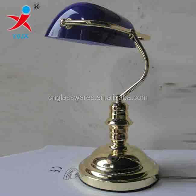 Bankers Blue Glass Desk Lamp Shade Bank Glass Cover For Bank Desk Decoration