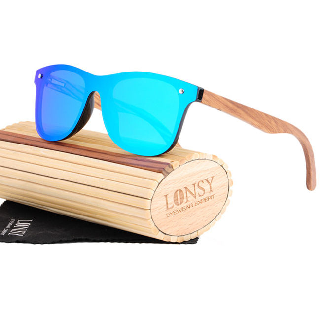 LS5029-C2 Big frame oversized one piece lens mirror color wooden bamboo polarized sunglasses