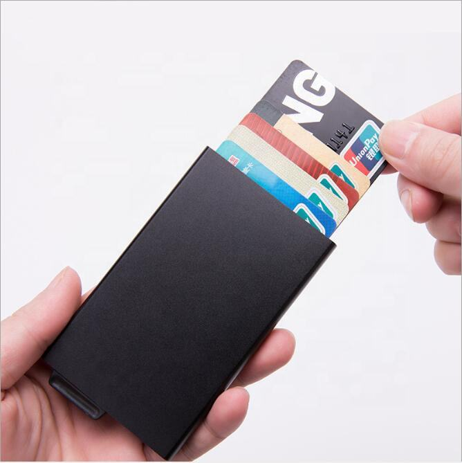 Female automatic pop up credit card holder black custom personalised card holders aluminium bank metal tent id ATM card holder