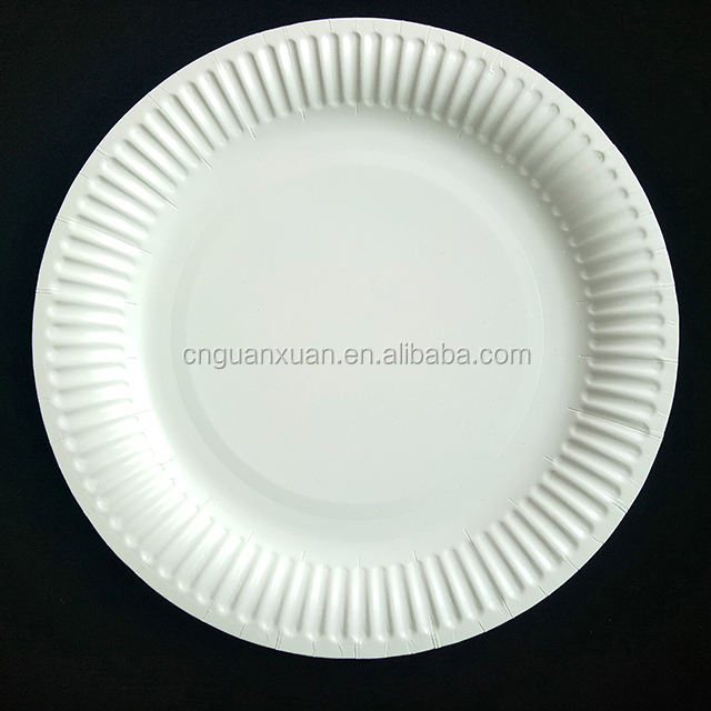"9"" large round white disposable hot food party paper plate"