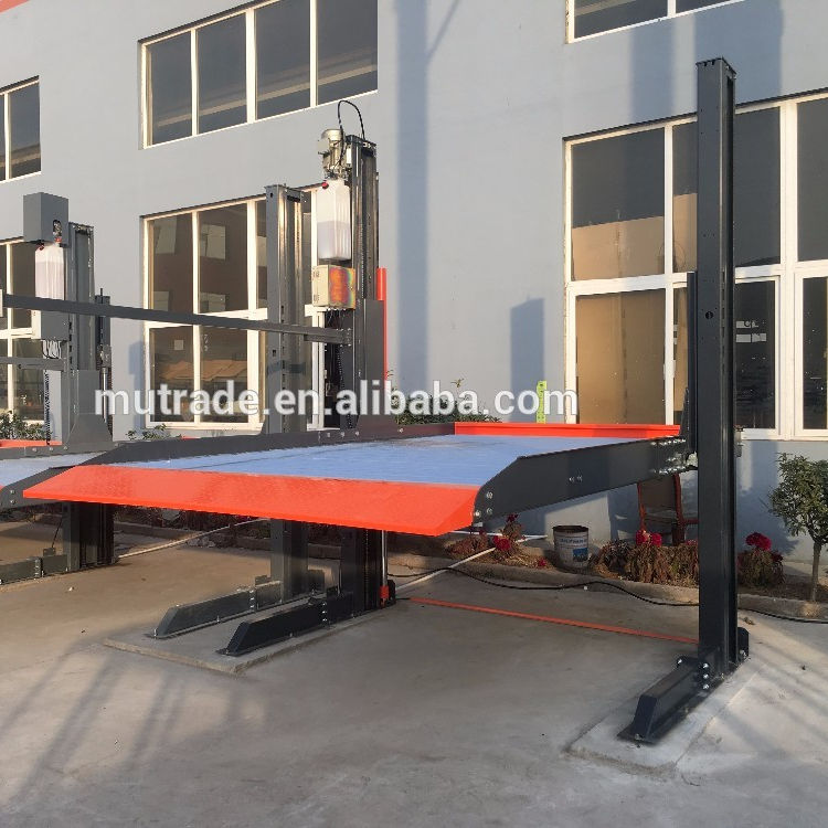 Simple and Safety parking equipment two spaces parked hydraulic garage car lift