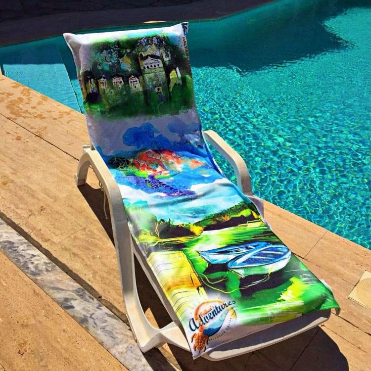 Takedown portable beach towel lounge chair over with pocket