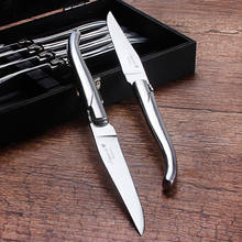 laguiole steak knife with stainless steel handle,6 pieces kitchen knife meat slicer steak knife set with gift box