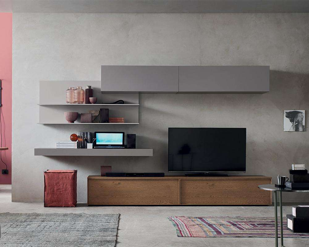 2018 Vermont Modern Solid Wood TVスタンドGray Lacquer Open Shelves