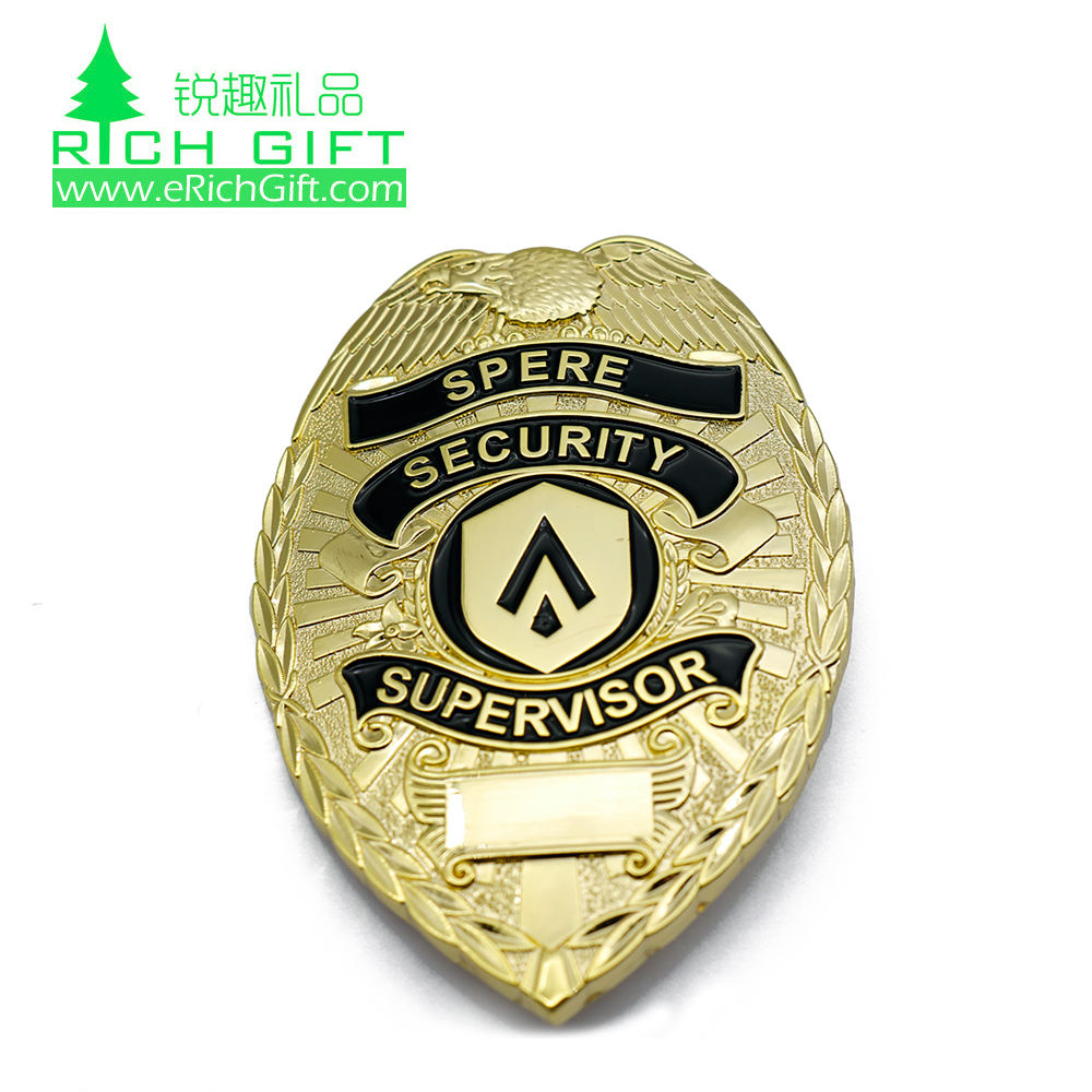High quality custom logo metal zinc alloy die casting gold plating shield shaped detective security badge