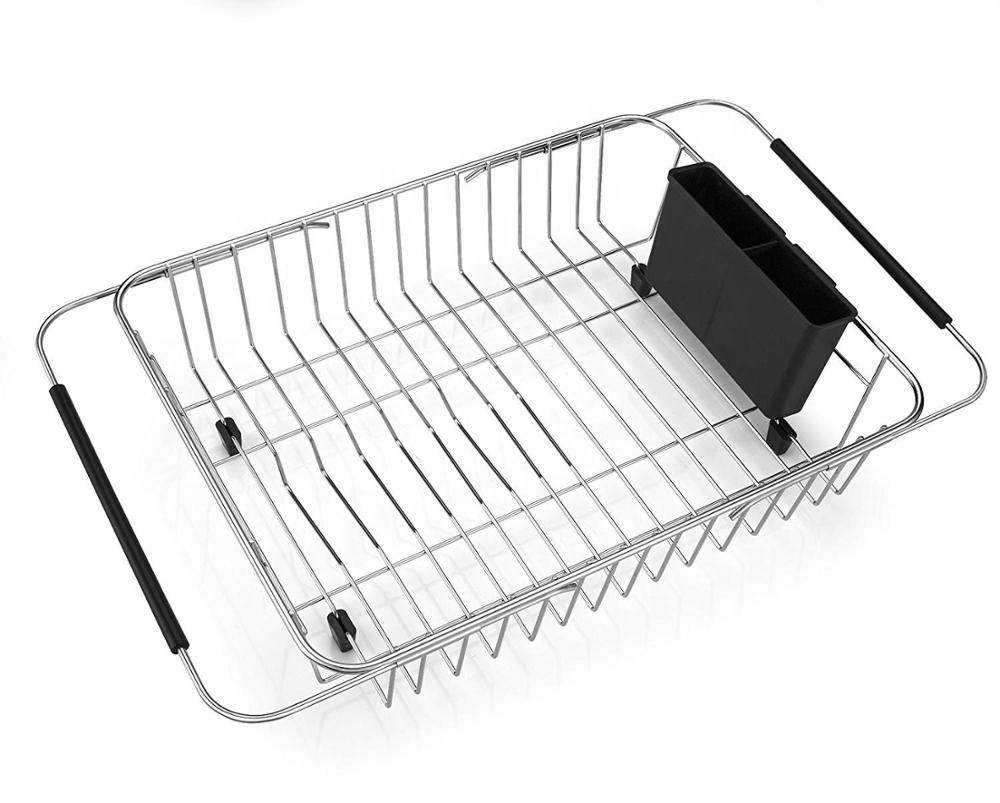 Stainless Steel Dish Drainer Adjustable Over Sink Dish Drying Rack with Cutlery Holder