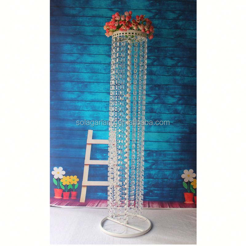 Wholesale Adjustable Height 0.9-1.5M White Metal Hanging Stand Acrylic Crystal Chandelier for Centerpieces Wedding Table