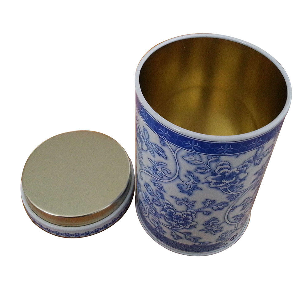 Round tea packing tin box