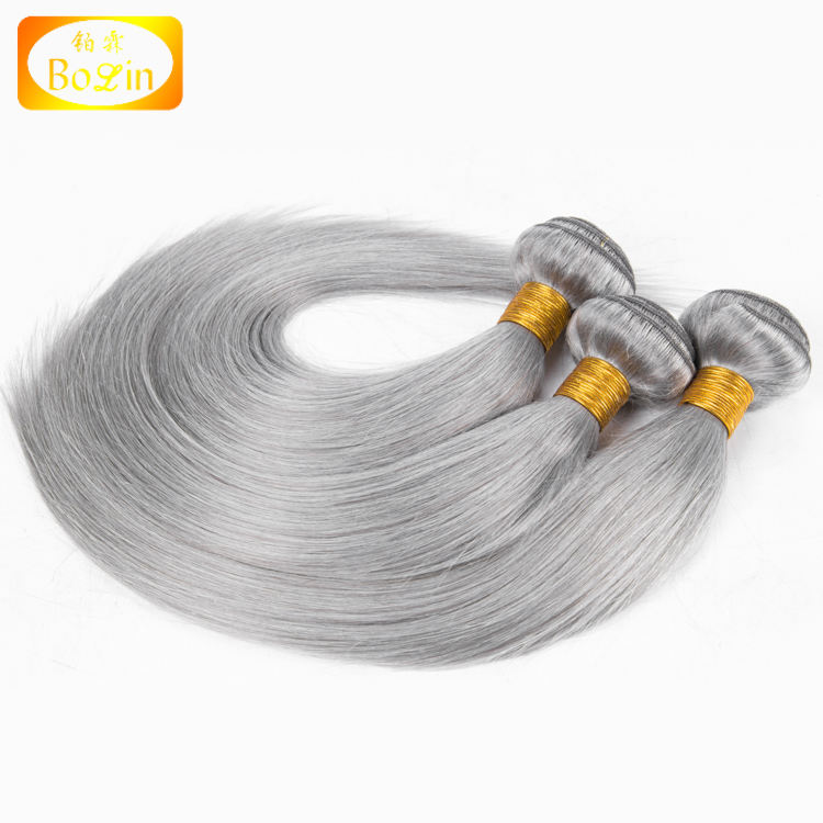 Straight Grey Brazilian Remy Hair Weave Silver Gray Color Human Hair Bundles Extension