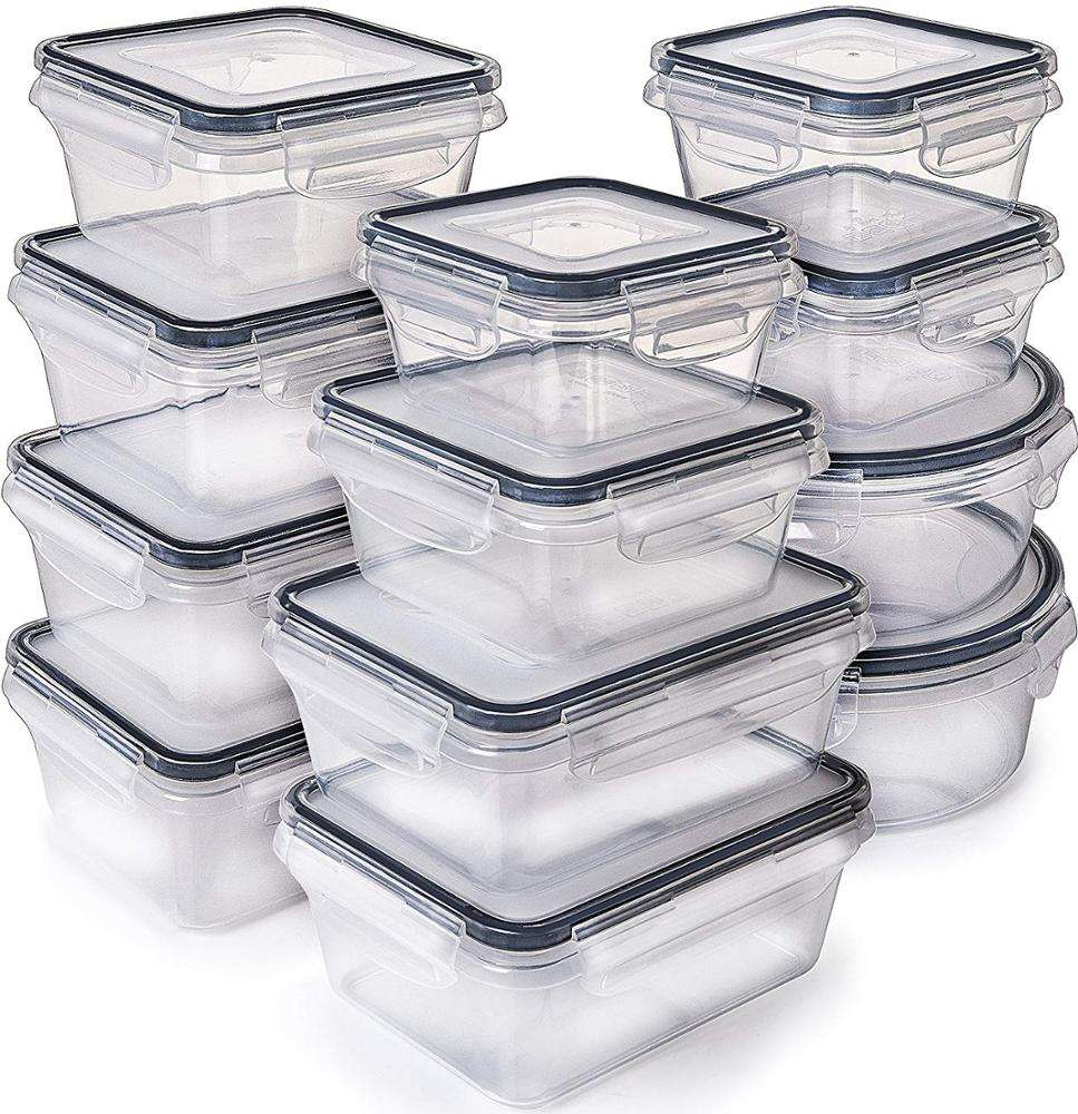 B-12 Pack Plastic Food Storage Containers with Lids Easy Snap Lock BPA Free Airtight Food Storage Container Set for Kitchen Use