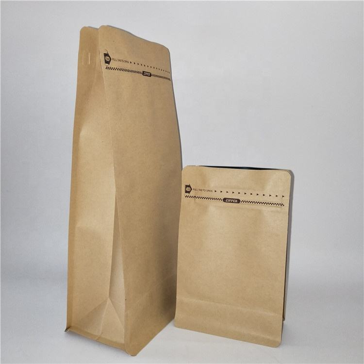 Eco Friendly 250g,500g,1kg 8 Sides Sealed Flat Bottom Zipper Coffee Resealable Kraft Paper Bag with Valve