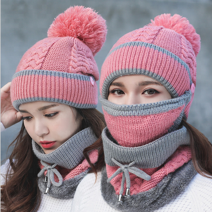 Mom and Daughter Winter Hat Scarf Set Warm Lady Collar Pom Beanie Sets Fashion Warm Knit Hat Scarf Set Women Comfortable Scarf