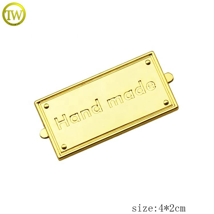 Gold plated metal stamping letter logo plate decorative metal label for bags