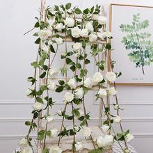 Factory Price Artificial Silk Rose Vine Flower Garland for Festival Decoration