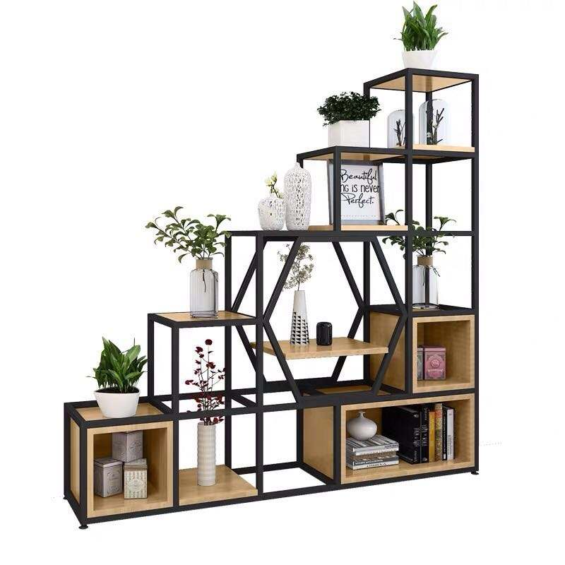 Creative Grid Solid wood Metal iron Store Shelf Modern Style Bookcase and Bookshelf Vintage Wood Storage Rack For Living Room