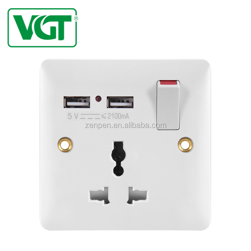 Vgt USB Double Steker 13 Amp 1 Gang Switch Electric Charger Port Daya UK Soket Dinding