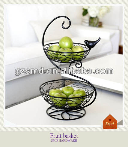 2 Tier antique iron wire round footed fruit basket