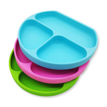 BPA free eco friendly custom print logo kids toddler divided bowls dish food feeding silicone baby plates with suction