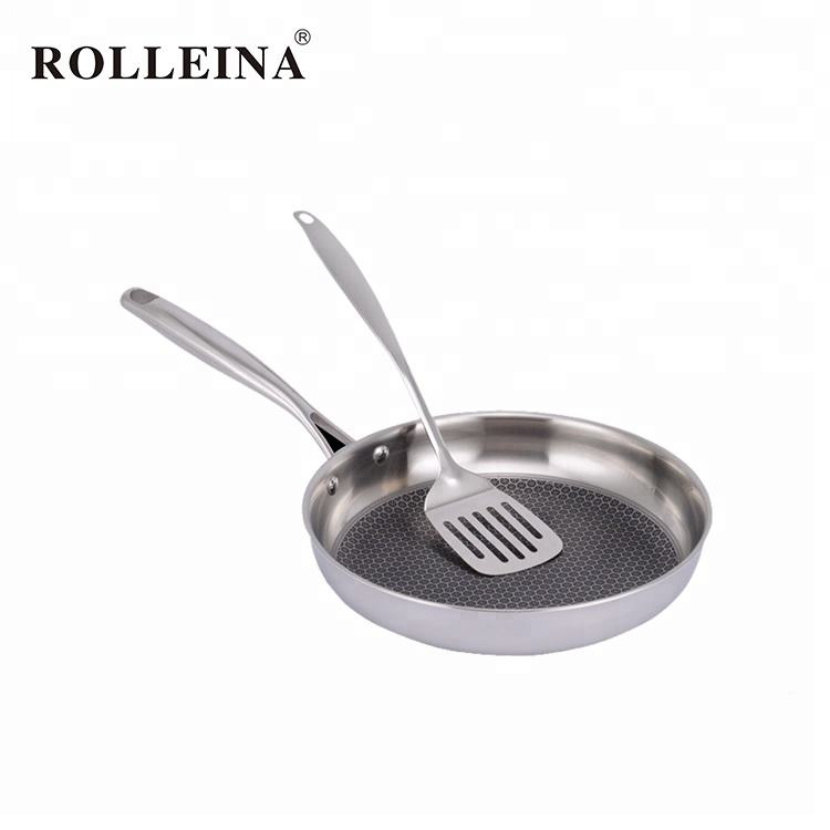 Stainless Steel Tahan Panas Lapisan Non-stick Putaran Frying <span class=keywords><strong>Pan</strong></span>