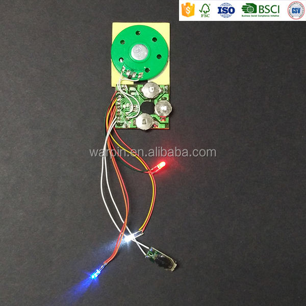 Button battery powered light sensor greeting card sound module