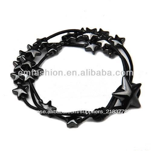 meninas da moda multicamadas fios de algodão em forma de estrela talão charme pulseira