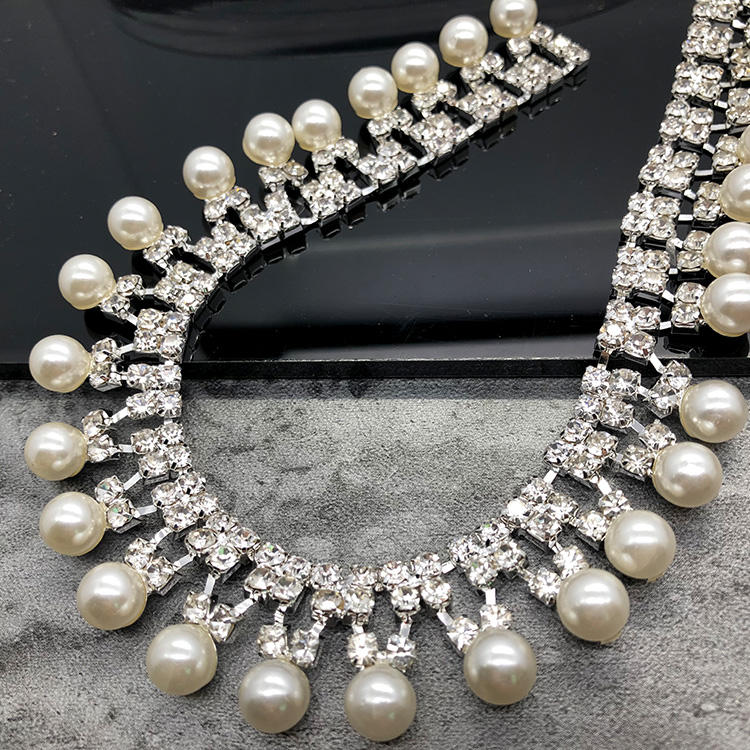 JPStrass Pearl Crystal Rhinestone Cup Chain Chain Party Dresses Decoration
