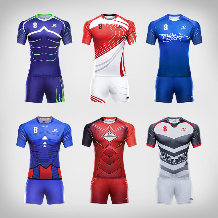 Wholesale sublimated blank rugby shorts football jersey league shirt uniform custom rugby sports wear clothing