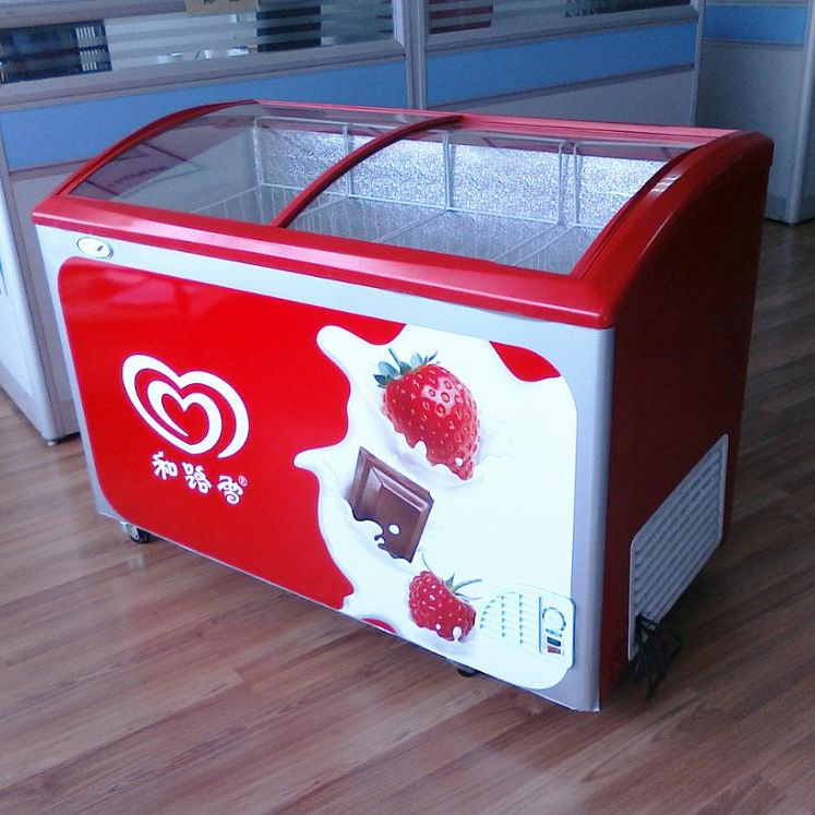 Top glass door chest freezer for popsicle and Ice cream deep freezer