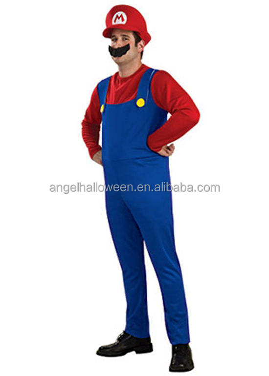 Fancy Dress Party latex superhero super mario cosplay costume AGM314