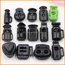Plastic Black Spring Stoppers Barrel Toggles Elastic Cord Lock