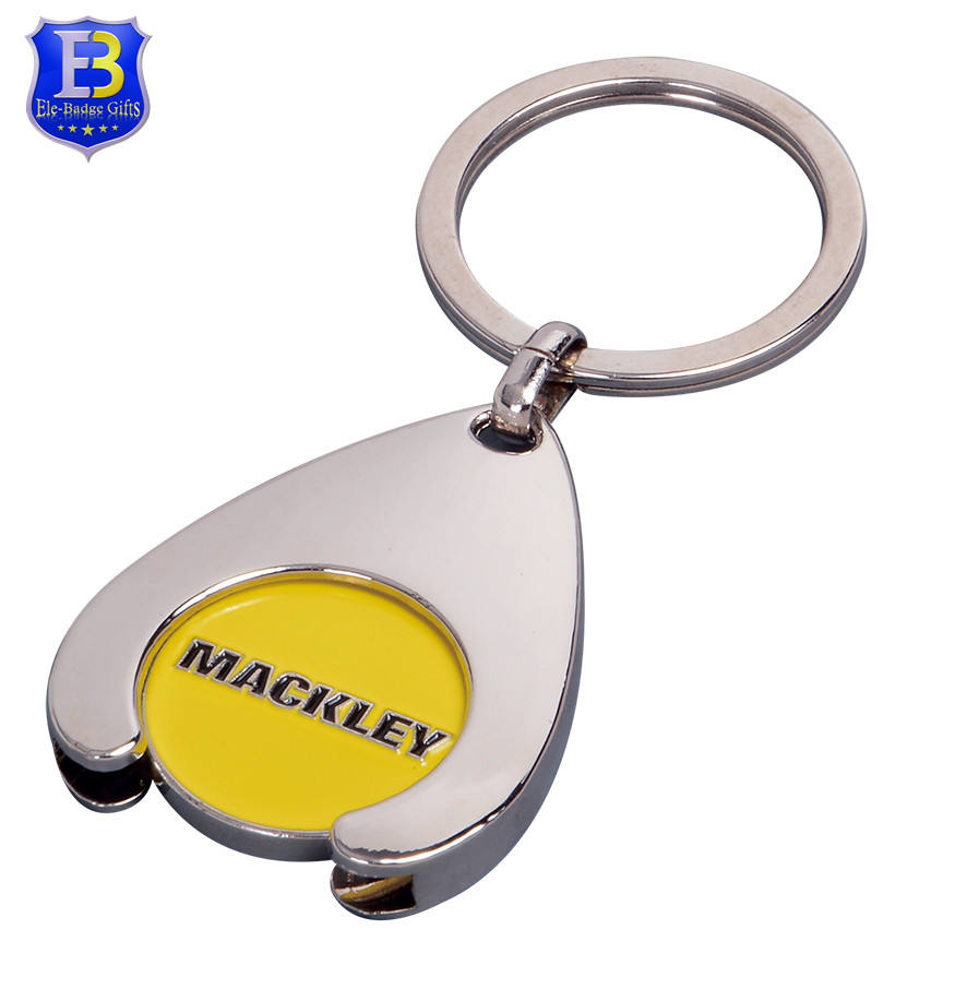 Promotional shopping trolley coin keyring with wishbone