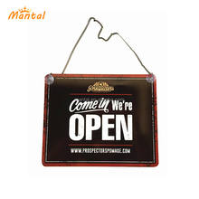 Double side custom metal full color printing open closed door hanging tin sign