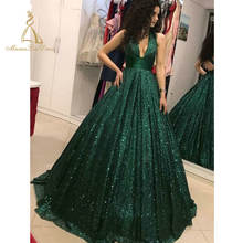 Real Open Back Designer Luxury Sequin Prom Dresses Long Formal Party Wear Gown 2019 Sequined Turkish Evening Dress
