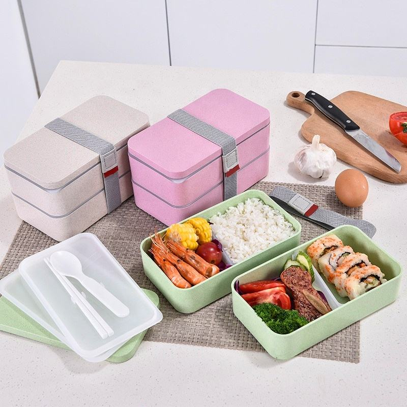Rice Husks Plant Fibre Bento Boxes Eco Friendly Lunch Box Unbreakable Organic Food Packaging Lunch Box