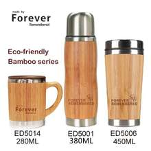 Wholesale inner 18/8 stainless steel bamboo cover travel coffee cup made of bamboo