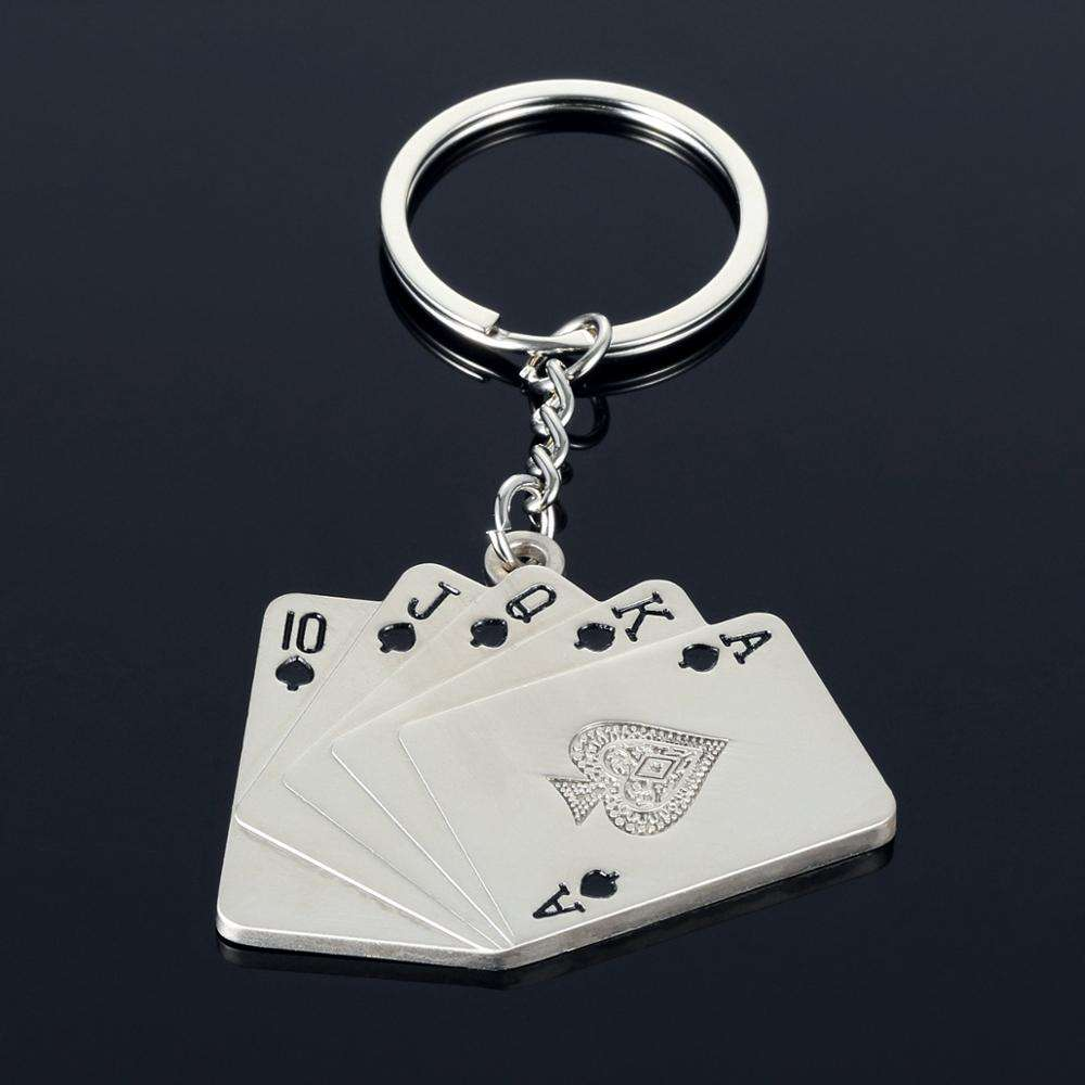 Same Flower Good Luck Mini Metal Poker Keychain