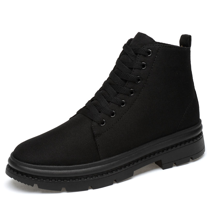 Height Increasing Black Canvas High Neck Shoes For Men