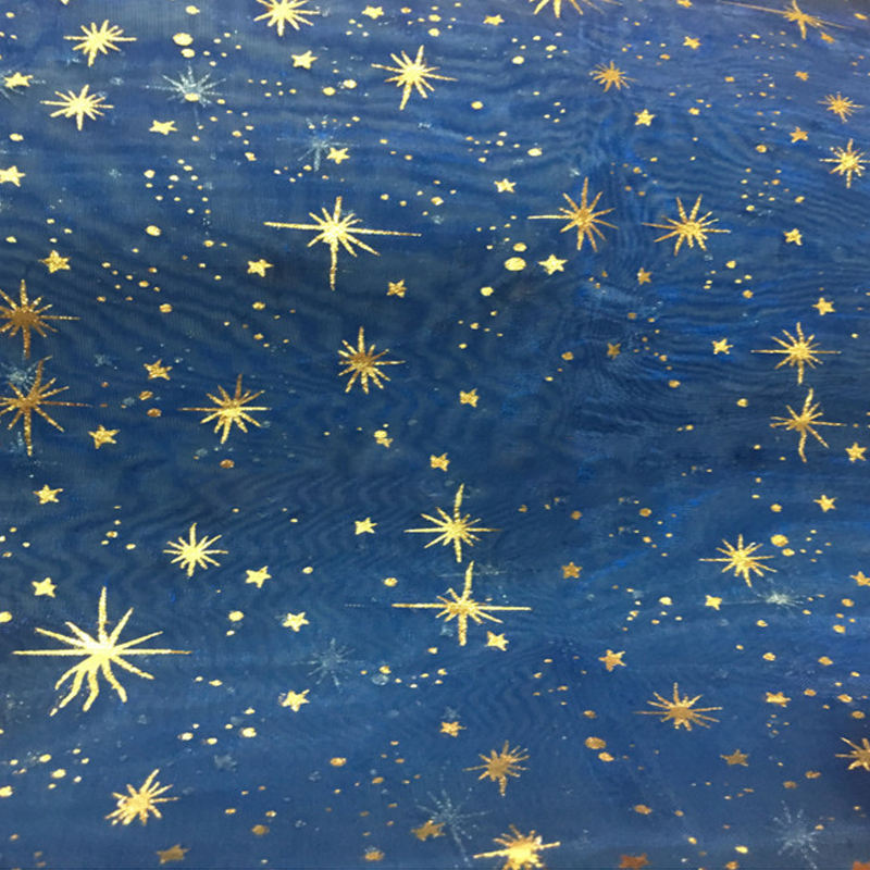 hot stamp star organza fabric