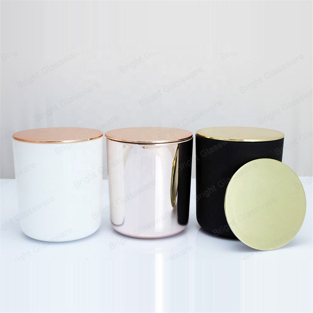 China Factory Spray white candle holder, electroplate rose gold candle jar with lid glass candle cup