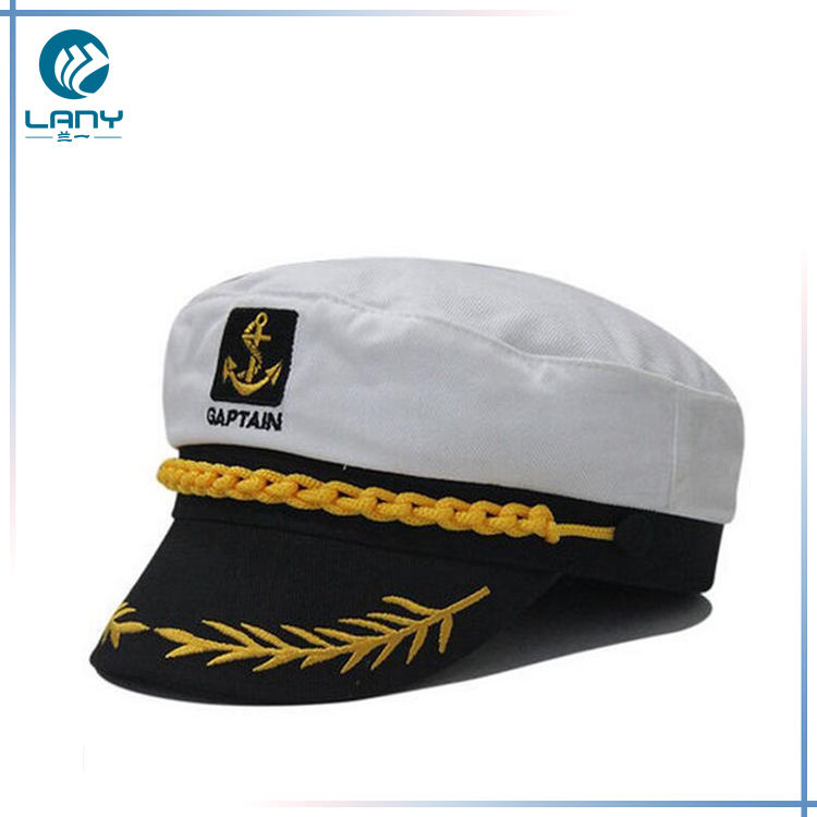 Kustom bordir topi datar top putih sailor captain topi