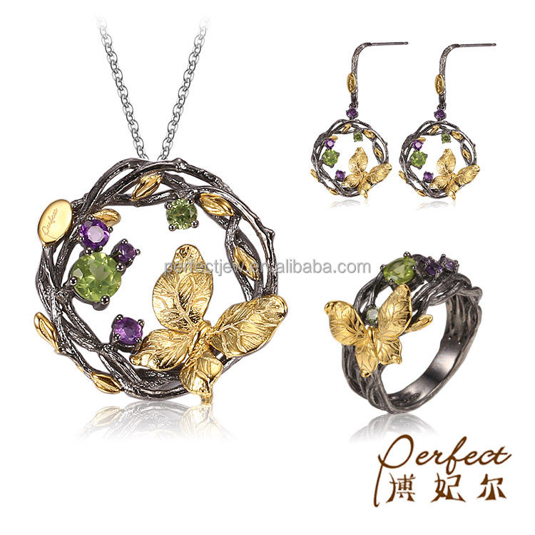 Sterling Silver Italy Handmade 925 Sterling Silver Amethyst Stone Peridot Jewelry Set With Gold Plated