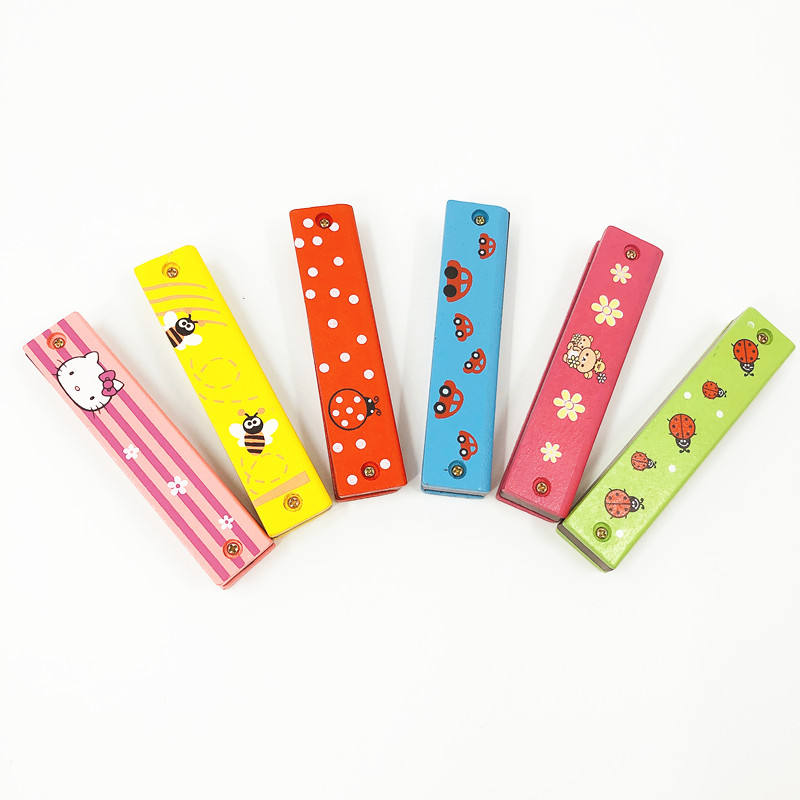Wholesale hot sale Kids musical instrument cartoon wooden mouth organ bee mini harmonica chromatic