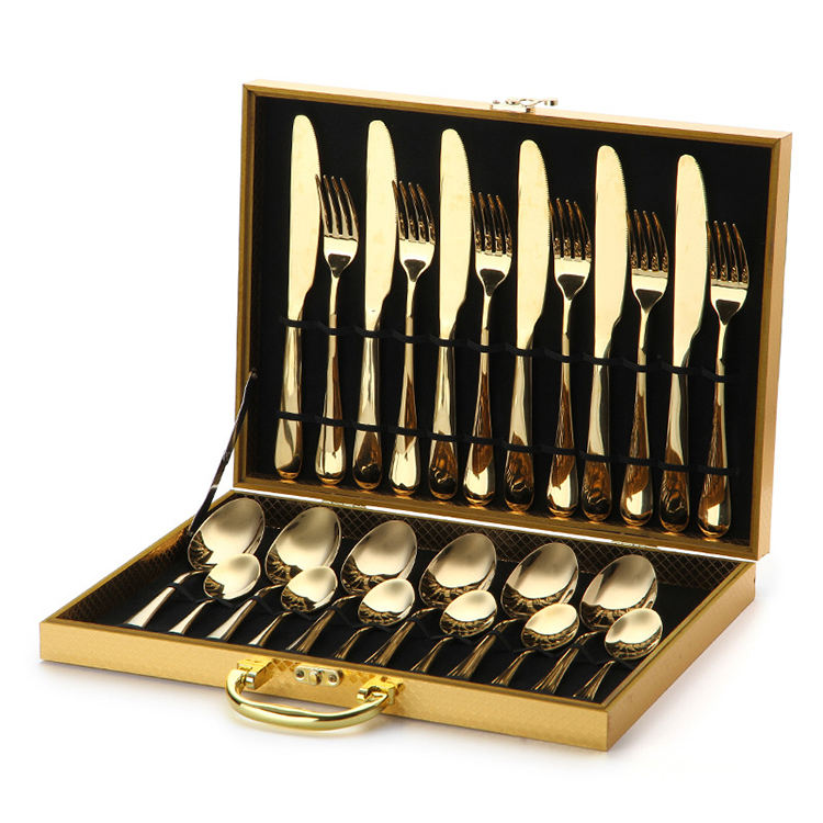 Classic 24 Piece Gold Stainless Steel Cutlery Set For GIft Weeding Party