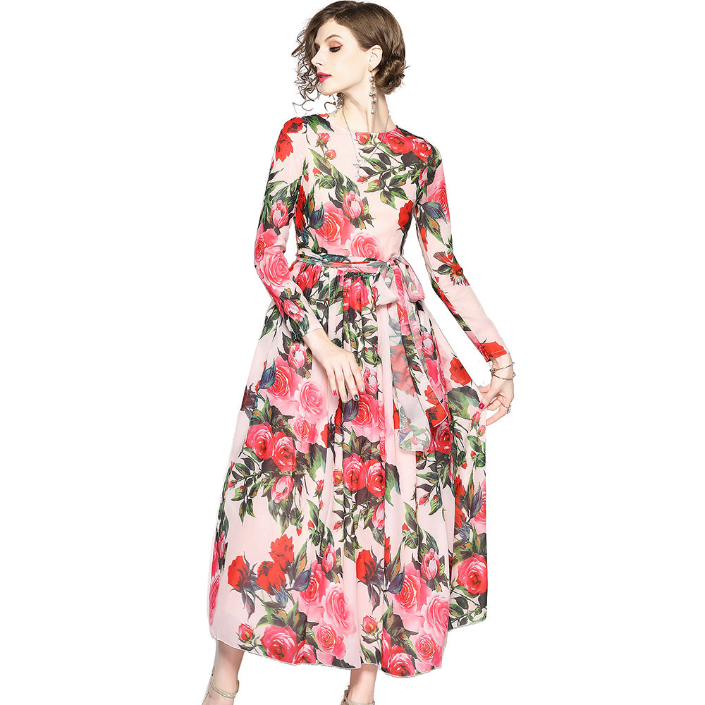 Wholesale In Stock Europe and America O Neck Belt Waist Big Swing Rose Print Long Chiffon Dress