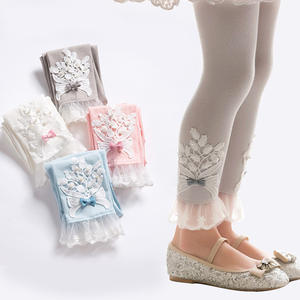 B10156A little girl cotton beaded lace legging cotton pants cotton trouser girl's capris