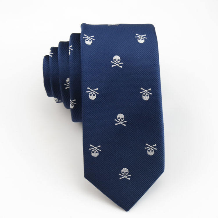 Fashion navy blue skull printed novelty polyester skinny necktie ties for men party