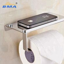 Wall Mount Toilet Paper Holder Stainless Steel Bathroom Tissue Holder with Mobile Phone Storage Shelf