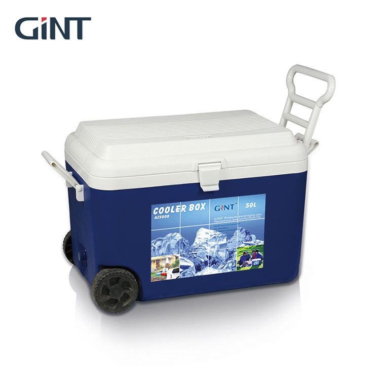 Hot Selling Light Hand Rod 50L Picnic Cola Ice Cooler Box Set With Wheels