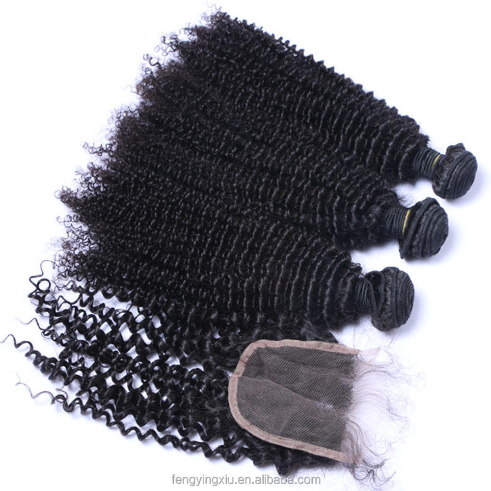 Malaysian afro kinky curly cuticle aligned hair bundles 3pcs with hd swiss lace top closure